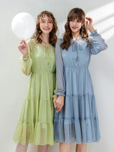 2 Colors Tie Neck Ruffle Chiffon Dress