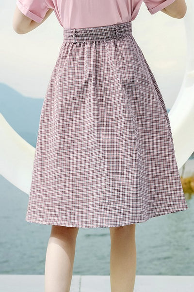 Bow Belt Gingham Skirt