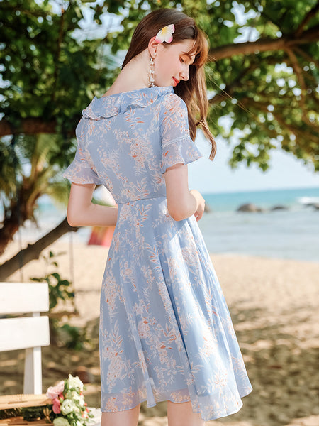 Ruffle Bow Neck High Waist Floral Dress