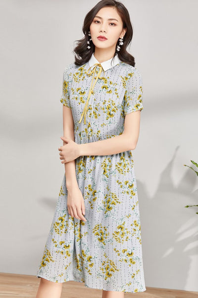 High Waist Floral Over Knee Dress
