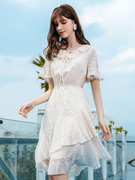 Bow Ruffle Collar Jacquard Irregular Dress