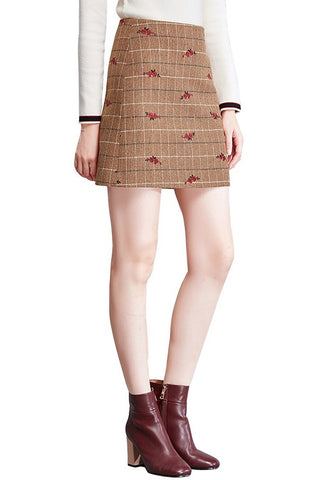 Floral Check A-Line Skirt