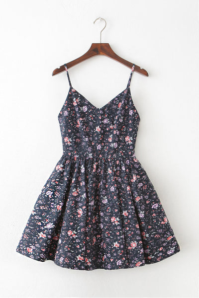 Blossom Navy Strap Cute Retro Sundress