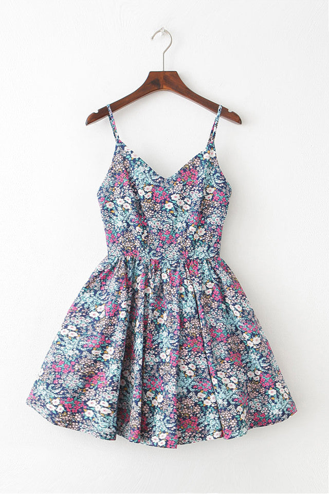 Sea of Flowers Strap Cute Retro Sundress