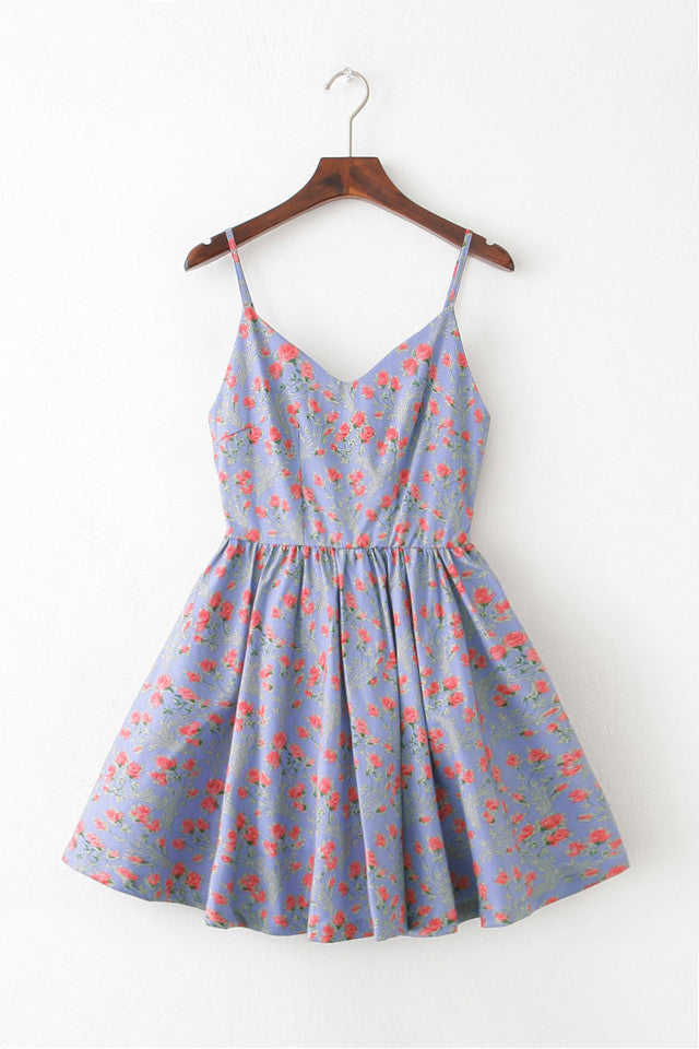 Rose Strap Cute Retro Sundress