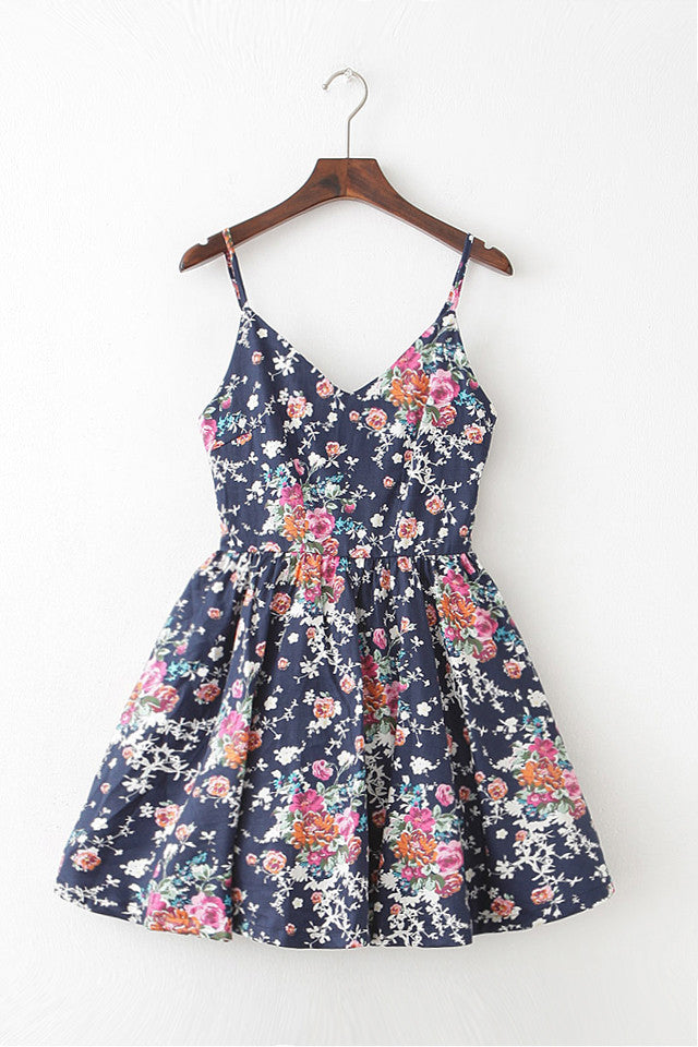 Fresh Bouquet Strap Cute Retro Sundress