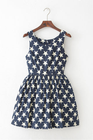 【Back in Stock】Star Navy Blue Cute Retro Sundress