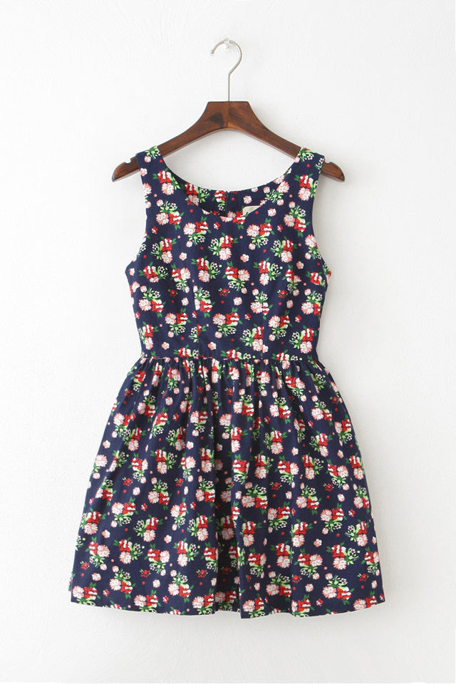 Floweret Navy Cute Retro Sundress