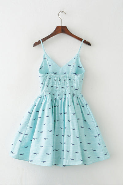 Ocean Whale Strap Cute Retro Sundress