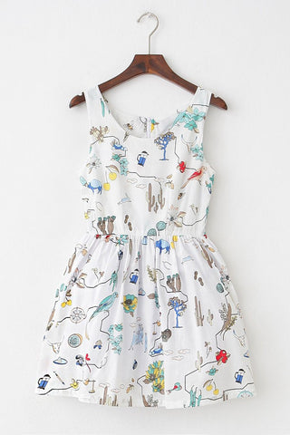 Nature Animal Plant Cute Retro Sundress