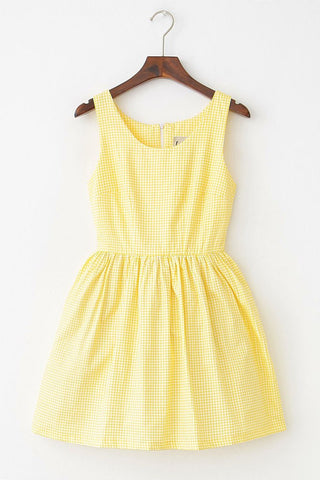 Little Yellow Gingham Cute Retro Sundress