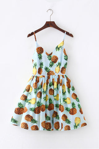 Tropical Pineapple Strap Cute Retro Sundress