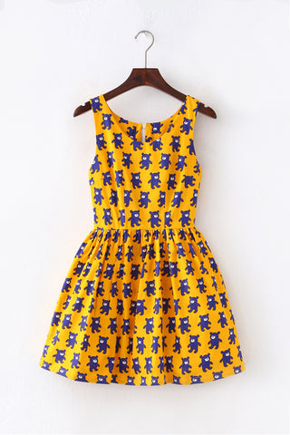 Blue Teddy Cute Retro Sundress