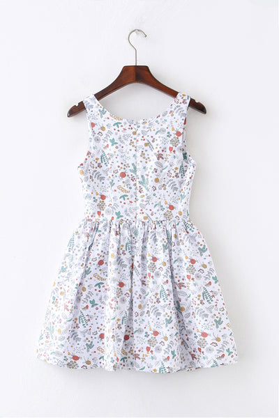 Plant Sketch White Cute Retro Sundress