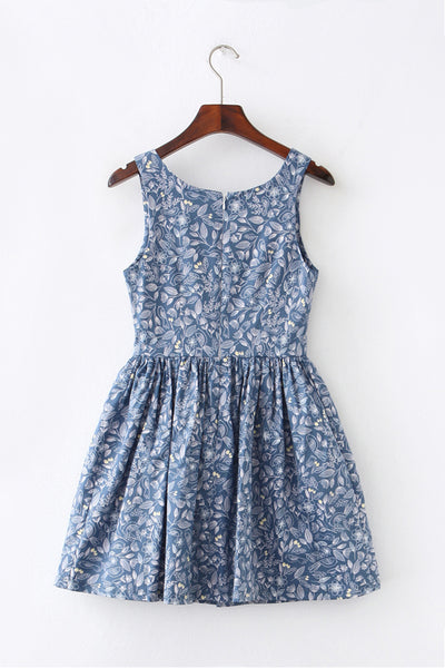 Floral Bird Sketch Cute Retro Sundress