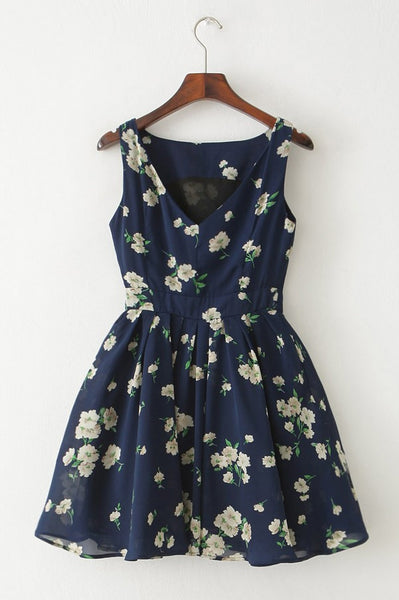 Floral Navy Skater Cute Retro Sundress