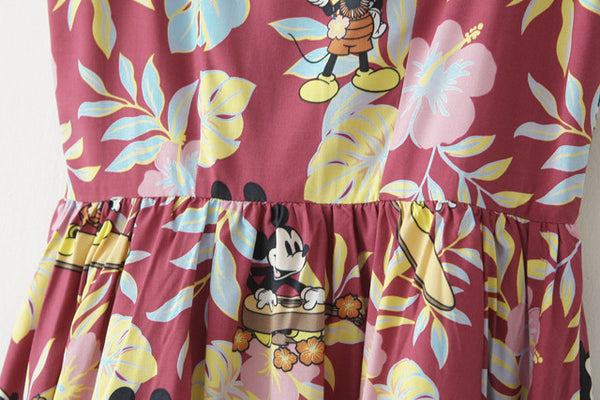 Hawaii Mickey Strap Cute Retro Sundress