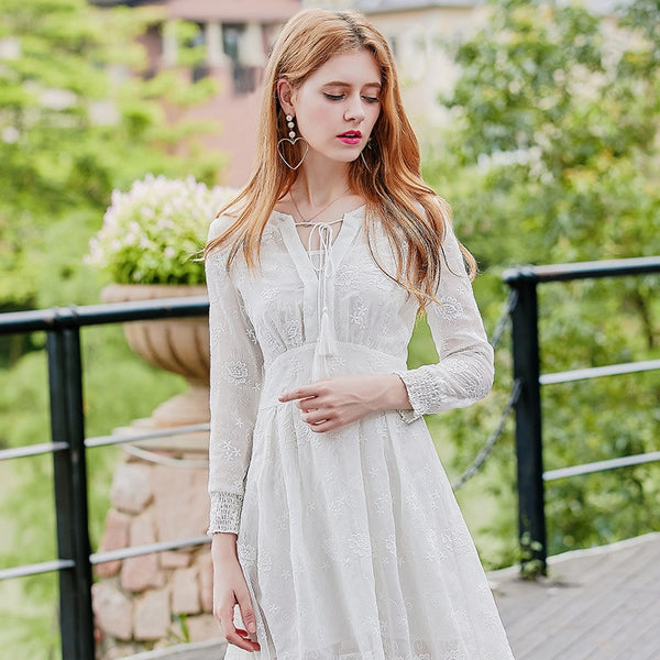 Tassel Tie Embroidery Scalloped Dress