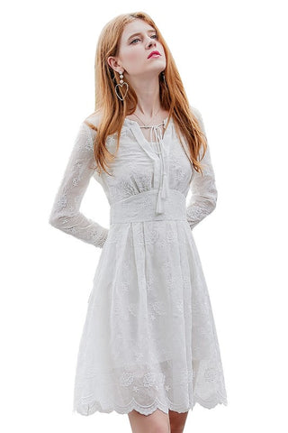 【Almost Gone】Tassel Tie Embroidery Scalloped Dress