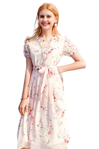 Ruffle V-Neck Belted Floral Dress