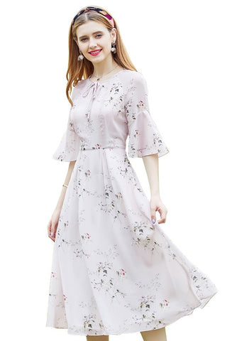 Bell Sleeve Bow Floral Dress