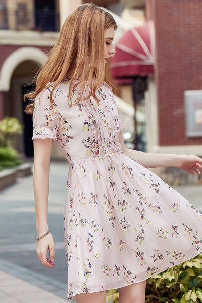 Floral Ruffle High Waist Dress