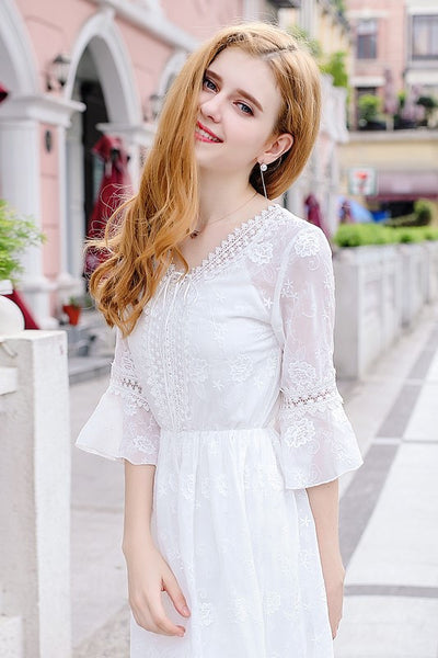Embroidery Lace White Dress