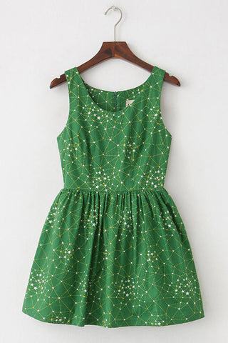 Galaxy Green Cute Retro Sundress