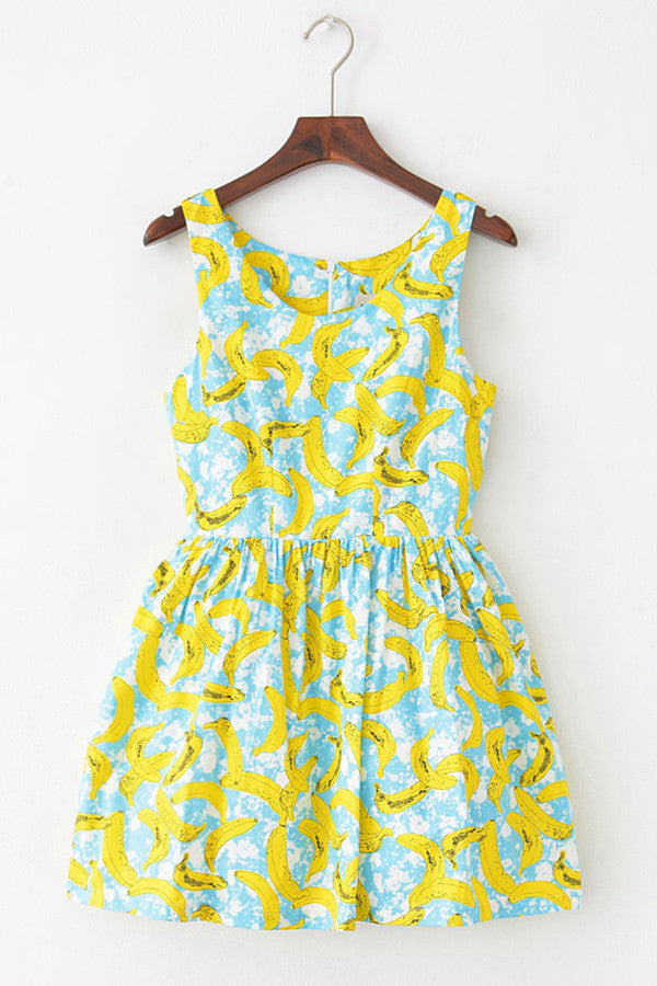 Banana Sketch Cute Retro Sundress