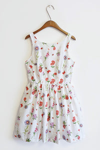 Floral Insect Print Cute Retro Sundress