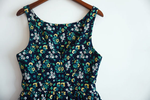 Summer Floral Navy Blue Cute Retro Sundress