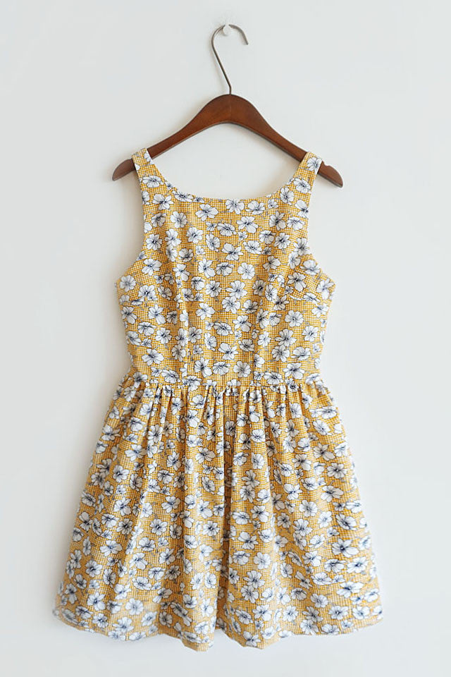 【Almost Gone】Floral Yellow Gingham Cute Retro Sundress