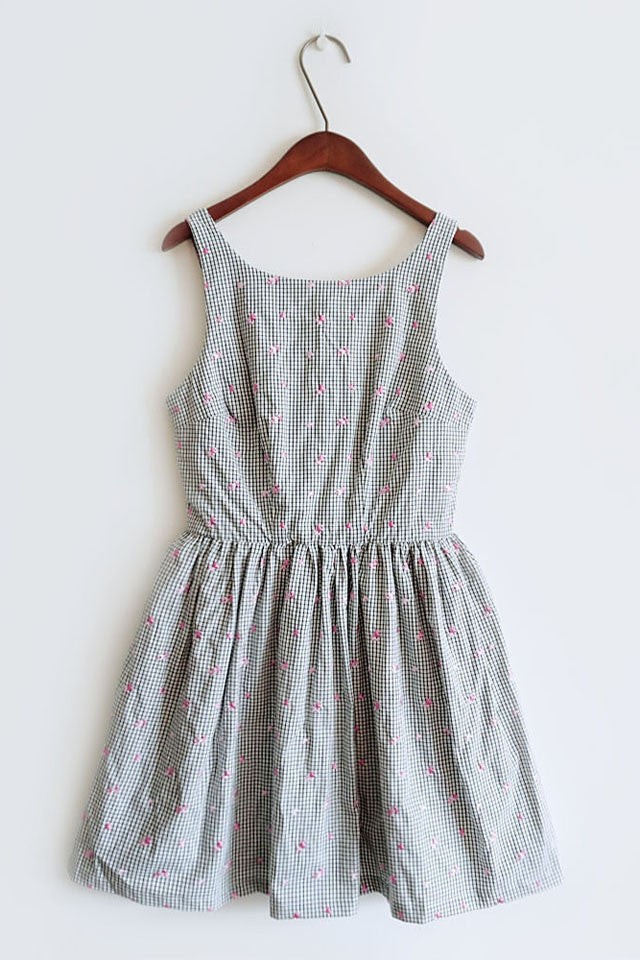 Heart Embroidery Gingham Cute Retro Sundress