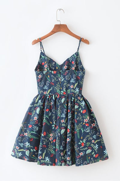 Summer Garden Navy Strap Cute Retro Sundress