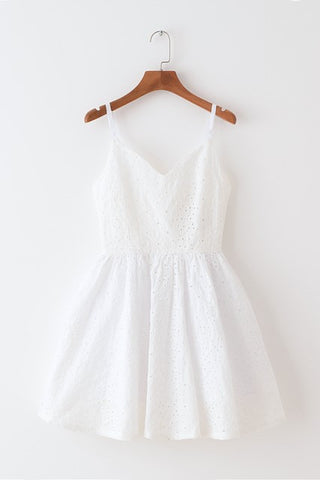 Eyelet Embroidery Strap Cute Retro Sundress