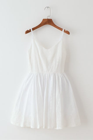 Lace Embroidery White Strap Cute Retro Sundress