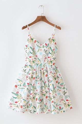 Summer Garden White Strap Cute Retro Sundress