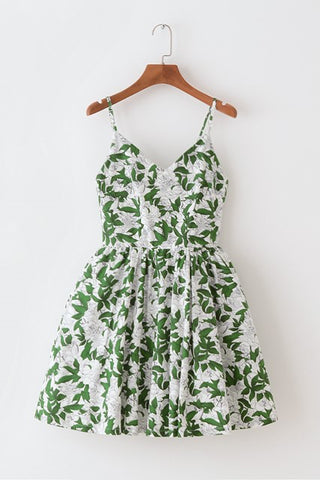 Leaves Peony Strap Cute Retro Sundress