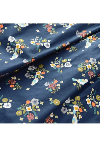 Flower Bird Navy Cute Retro Sundress