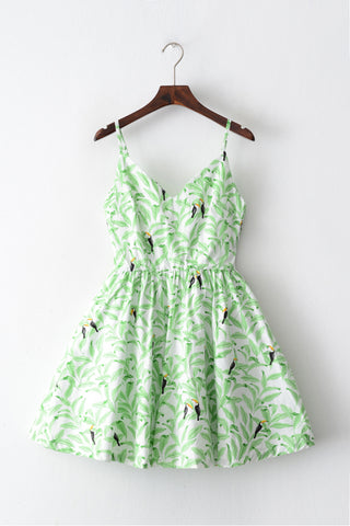 Toucan Forest Strap Cute Retro Sundress