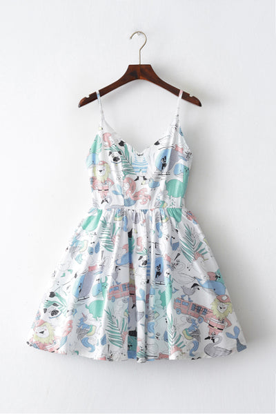 Fantastic Animals Strap Cute Retro Sundress