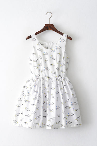 Sparrow Print Cute Retro Sundress