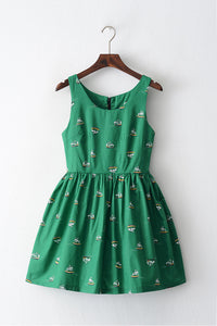 Sailing Ship Green Cute Retro Sundress