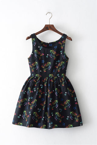 Rainbow Unicorn Black Cute Retro Sundress