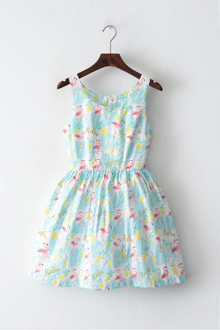 Pineapple Flamingo Cute Retro Sundress