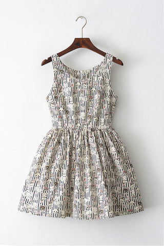 Stripe Animal Print Cute Retro Sundress