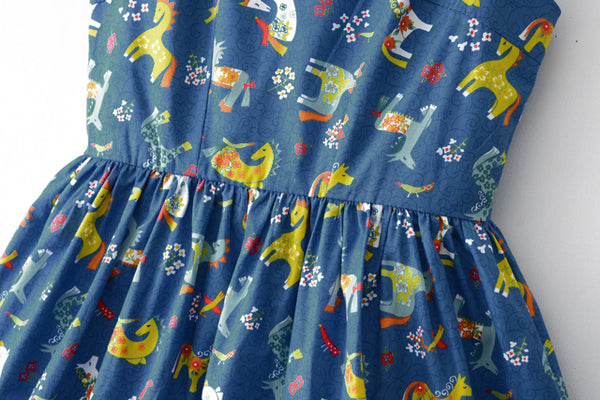 Colorful Wooden Horse Cute Retro Sundress