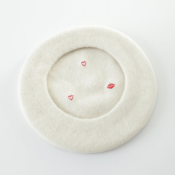 Red Lips Embroidery Wool Beret