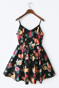 Vintage Floral Animal Strap Cute Retro Sundress