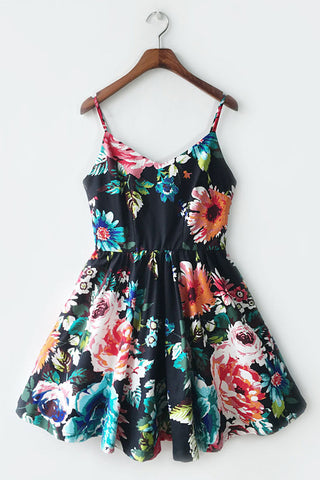 【Almost Gone】Floral Black Strap Cute Retro Sundress